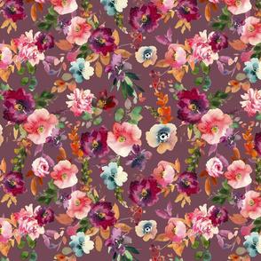 Mauve Fall Floral Teal Orange  Fall Autumn Flowers Fall Fabric Wine Green