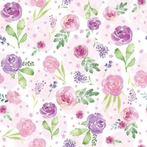 Lavender and Light Pink Spring Summer Watercolor Floral