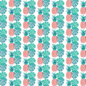 Pink pineapple with monstera
