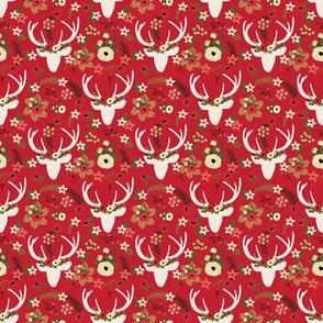 MICRO Red Winter Deer Christmas Floral