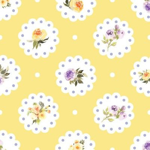 Doily Yellow and Purple Flowers