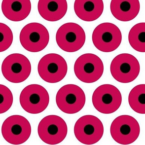 bold circles red and black on white