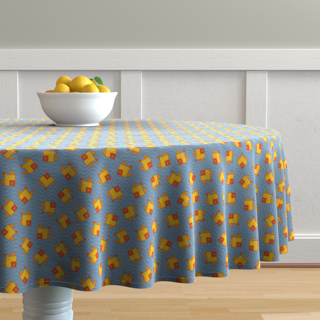 Malay Round Tablecloth featuring origami clone fish by colorofmagic