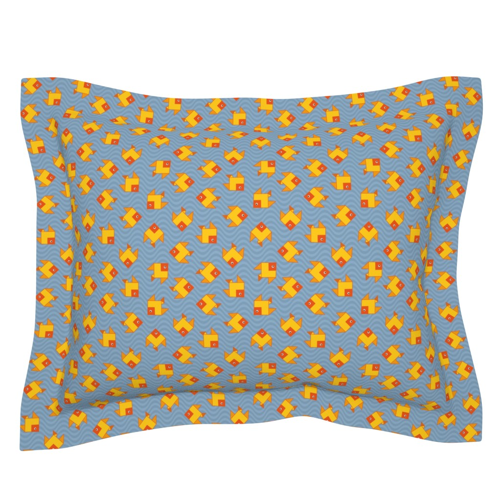Sebright Pillow Sham featuring origami clone fish by colorofmagic