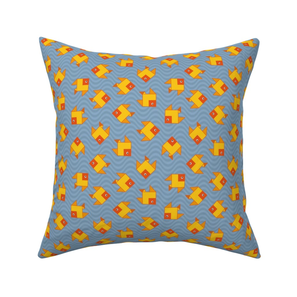 Catalan Throw Pillow featuring origami clone fish by colorofmagic