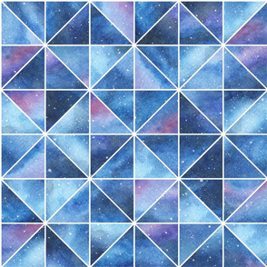 Geometric Watercolour Galaxy Squares and Triangles