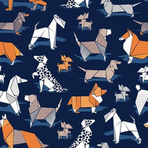 Small scale // Origami doggie friends // oxford navy blue background paper Chihuahuas Dachshunds Corgis Beagles German Shepherds Collies Poodles Terriers Dalmatians
