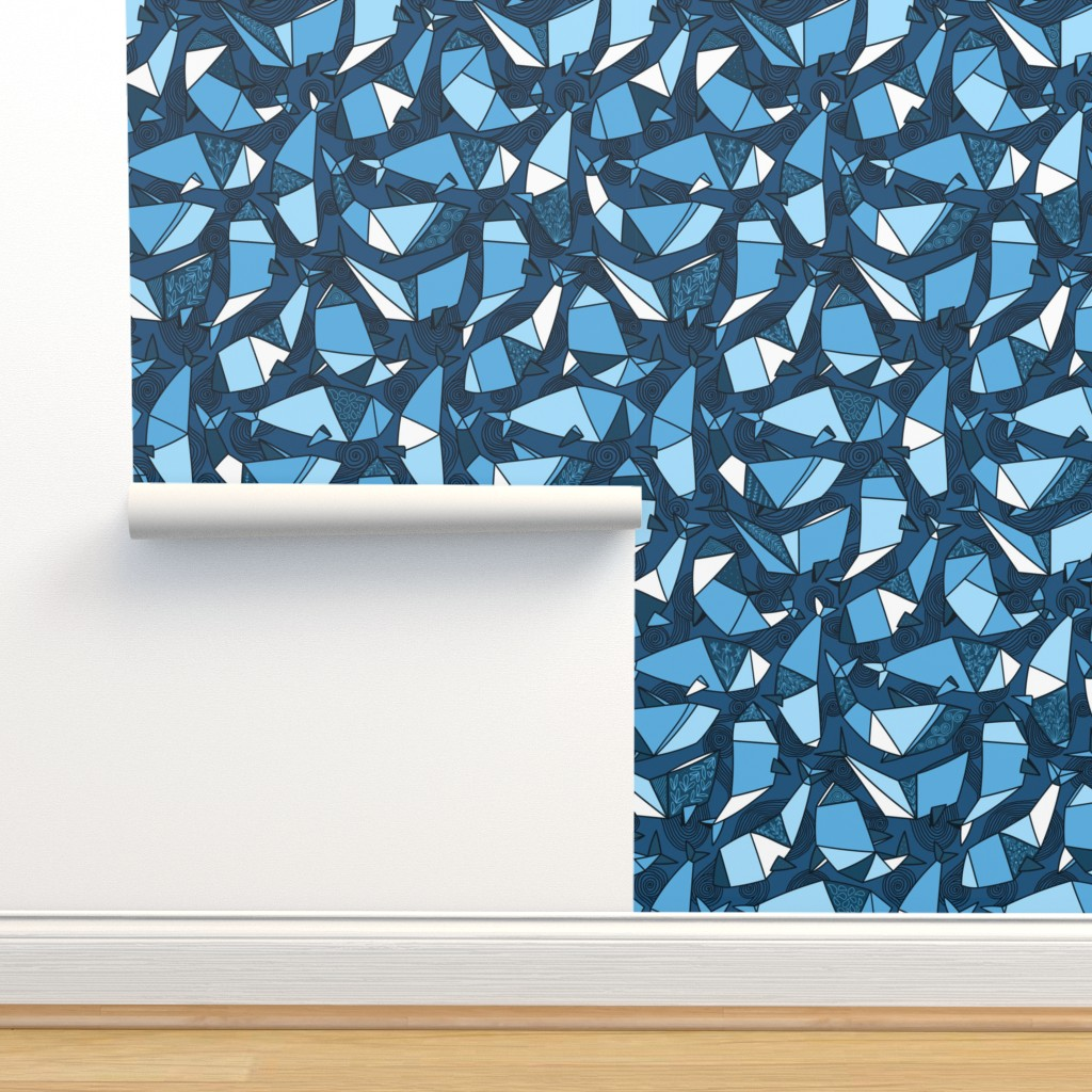 Isobar Durable Wallpaper featuring Blue origami whales fabric. Big blower in Japanese paper technique by kostolom3000