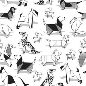 Small scale // Origami doggie friends // white background coloring paper Chihuahuas Dachshunds Corgis Beagles German Shepherds Collies Poodles Terriers Dalmatians