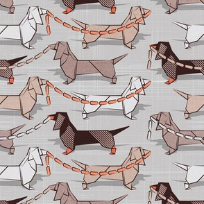 Small scale // Origami Dachshunds sausage dogs // grey linen texture background