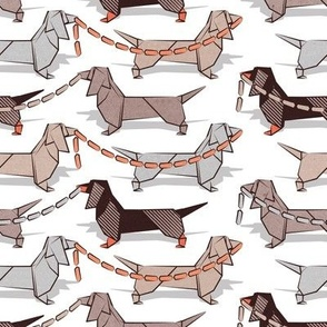 Small scale // Origami Dachshunds sausage dogs // small scale // white background