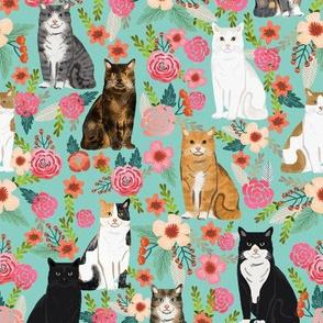 cat florals mixed breeds cats fabric mint