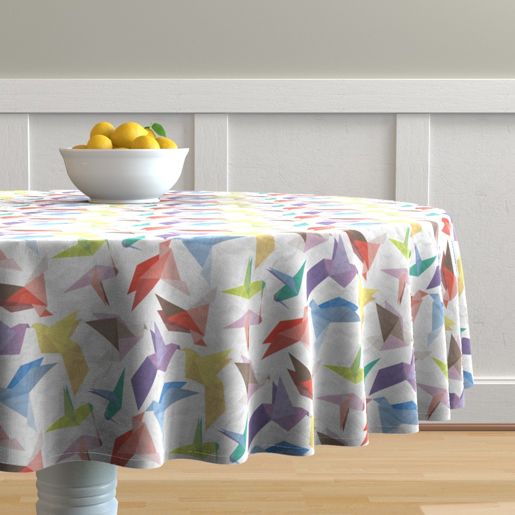 Malay Round Tablecloth featuring Lovebirds of origami paper by veerapfaffli