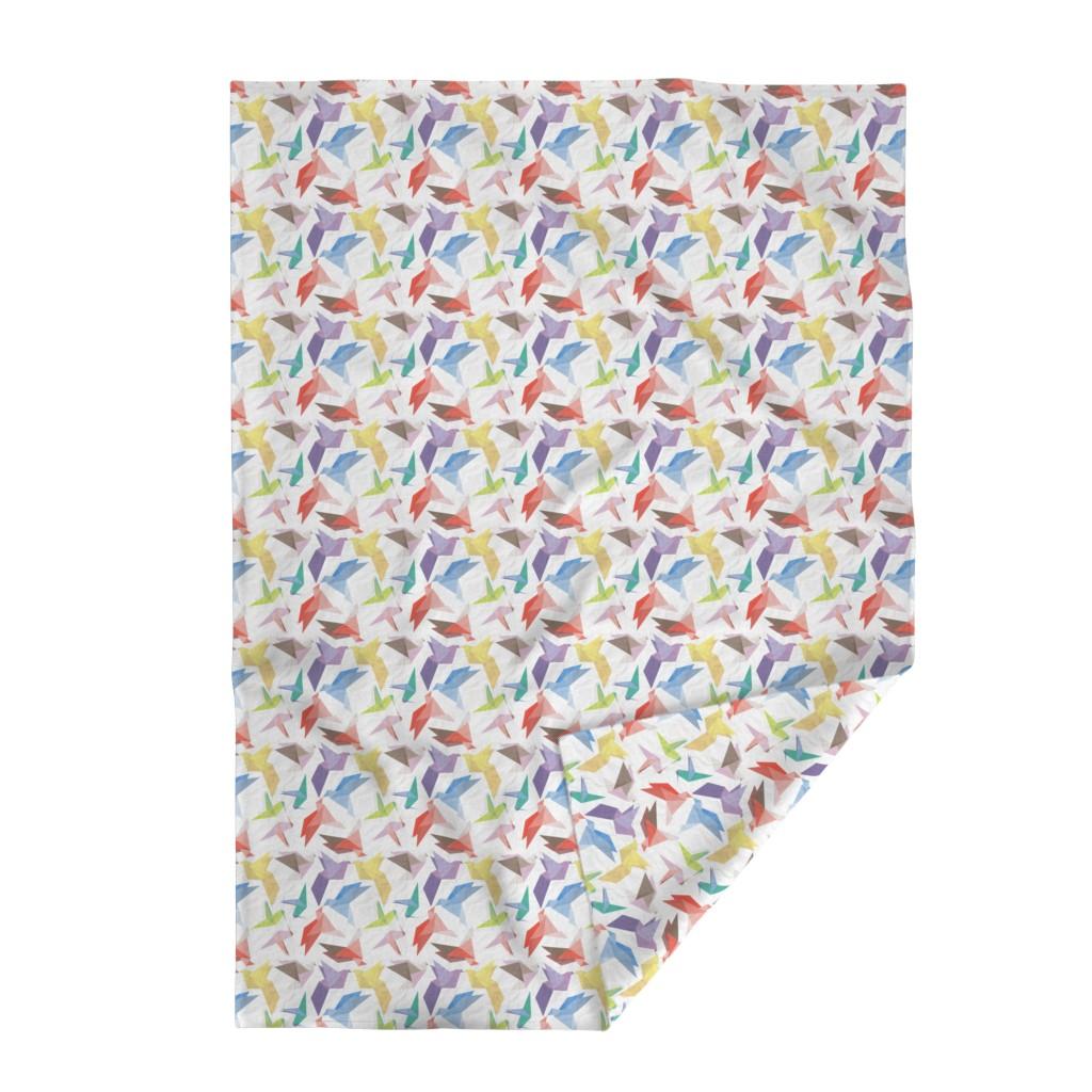 Lakenvelder Throw Blanket featuring Lovebirds of origami paper by veerapfaffli