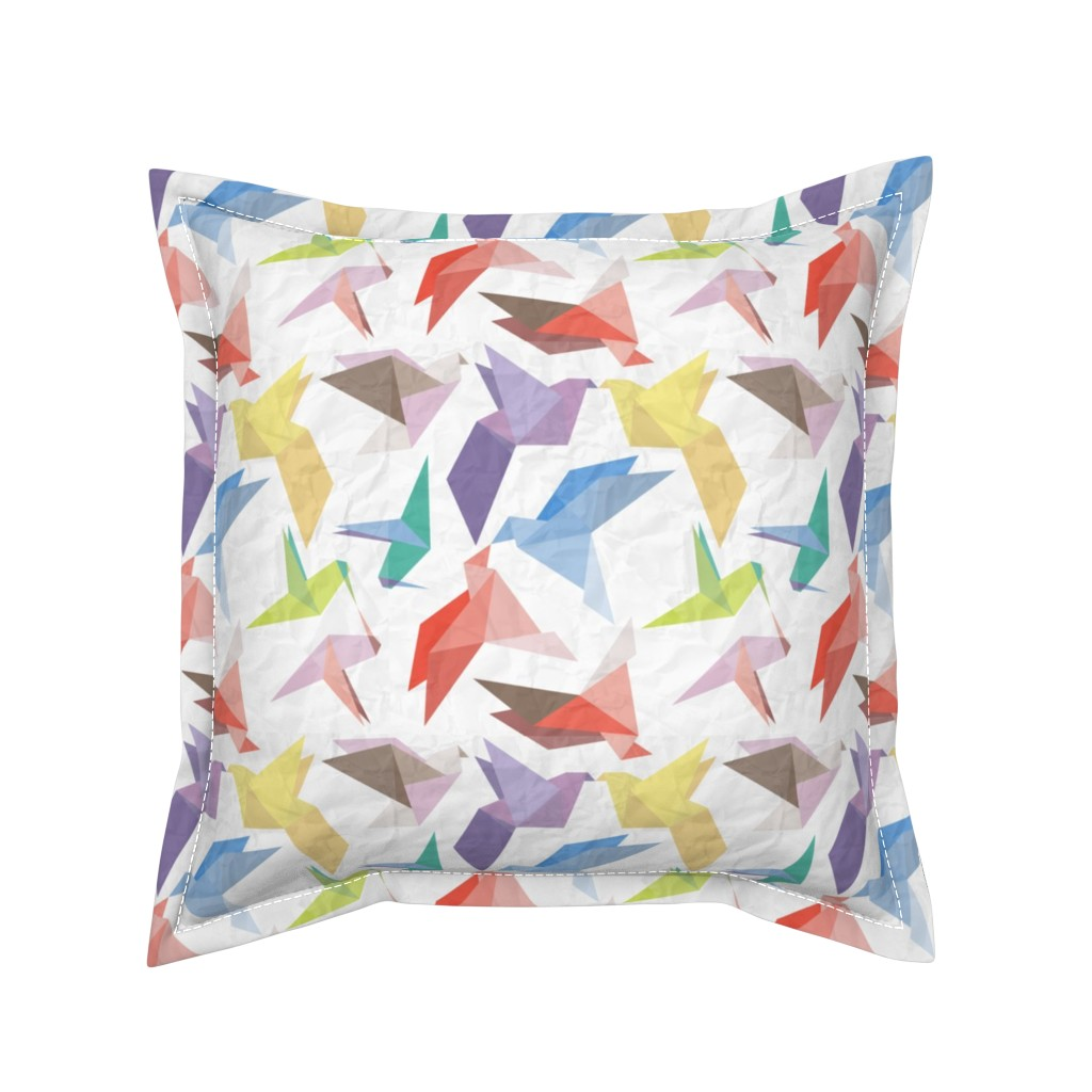 Serama Throw Pillow featuring Lovebirds of origami paper by veerapfaffli