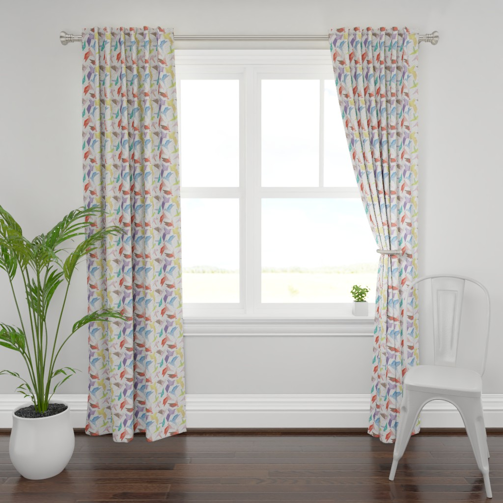 Plymouth Curtain Panel featuring Lovebirds of origami paper by veerapfaffli
