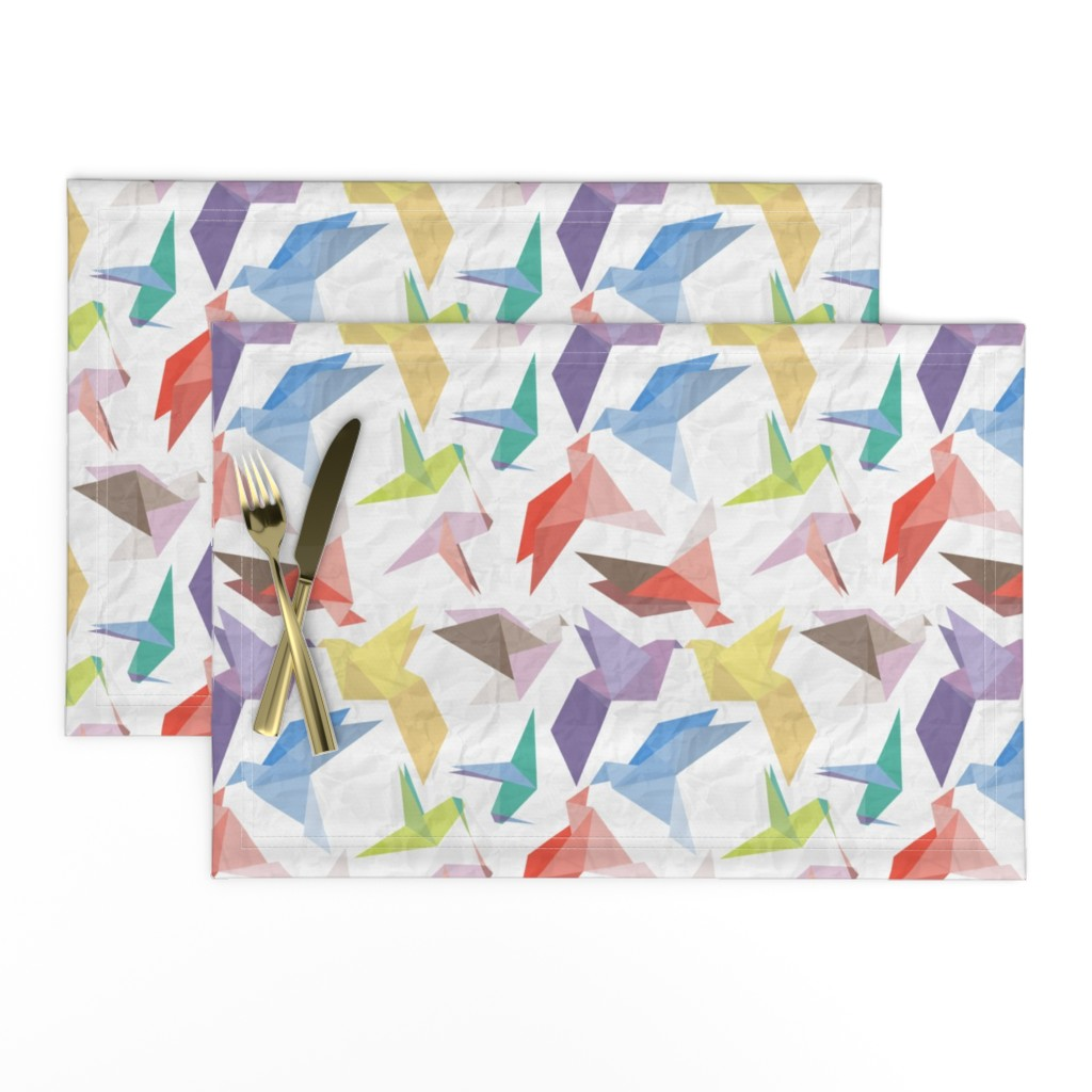 Lamona Cloth Placemats featuring Lovebirds of origami paper by veerapfaffli
