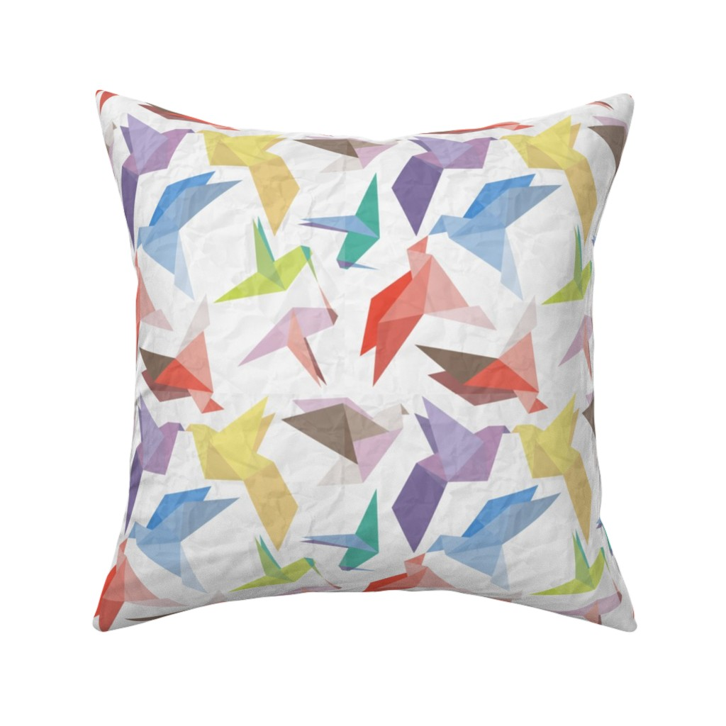 Catalan Throw Pillow featuring Lovebirds of origami paper by veerapfaffli