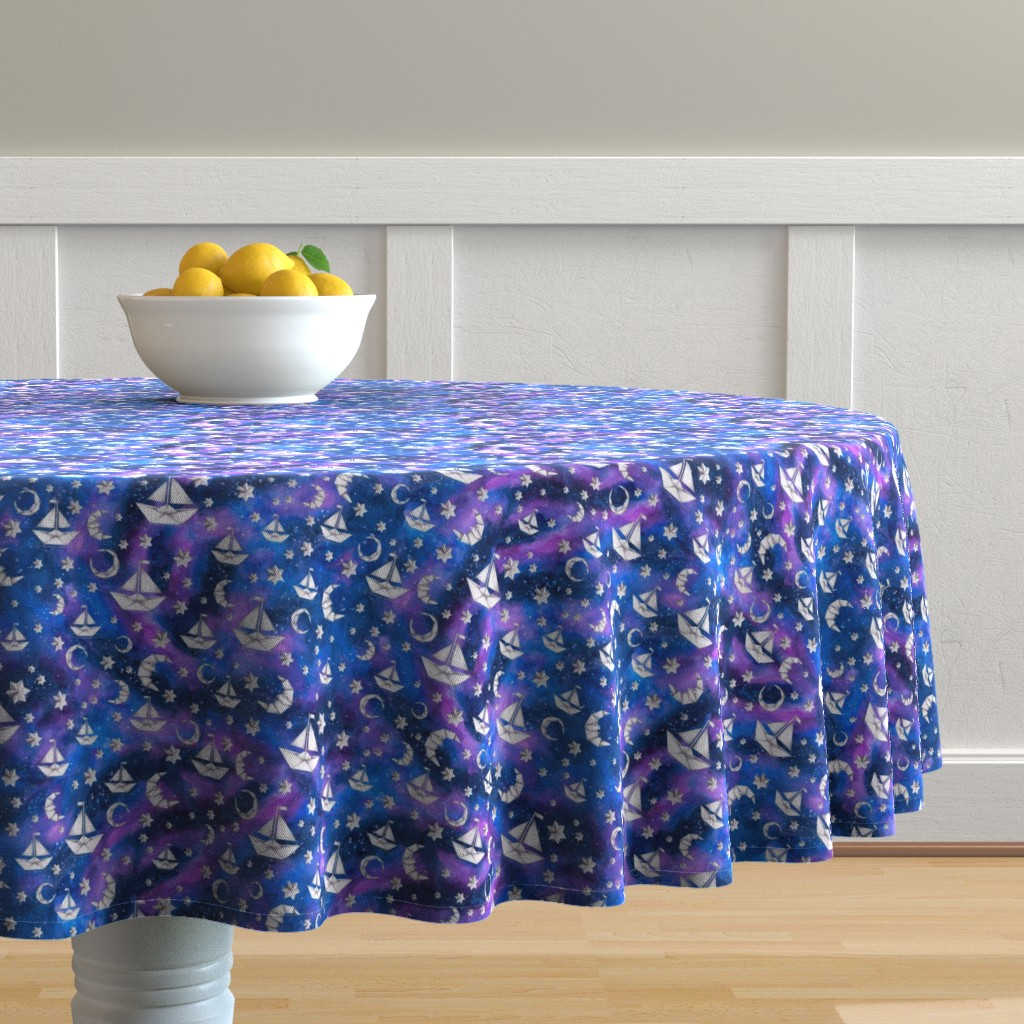 Malay Round Tablecloth featuring Sail Me to the Moon by gingerlique