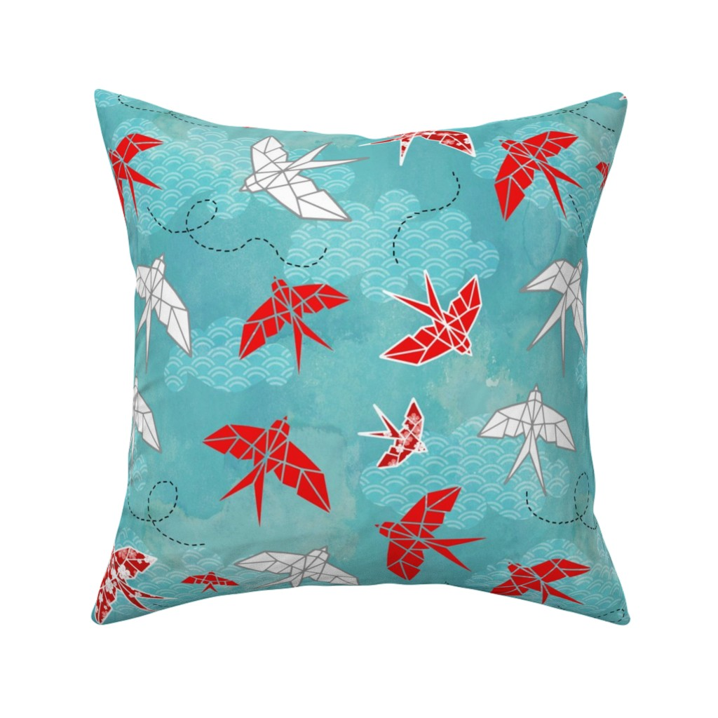 Catalan Throw Pillow featuring Origami Swallows by adenaj