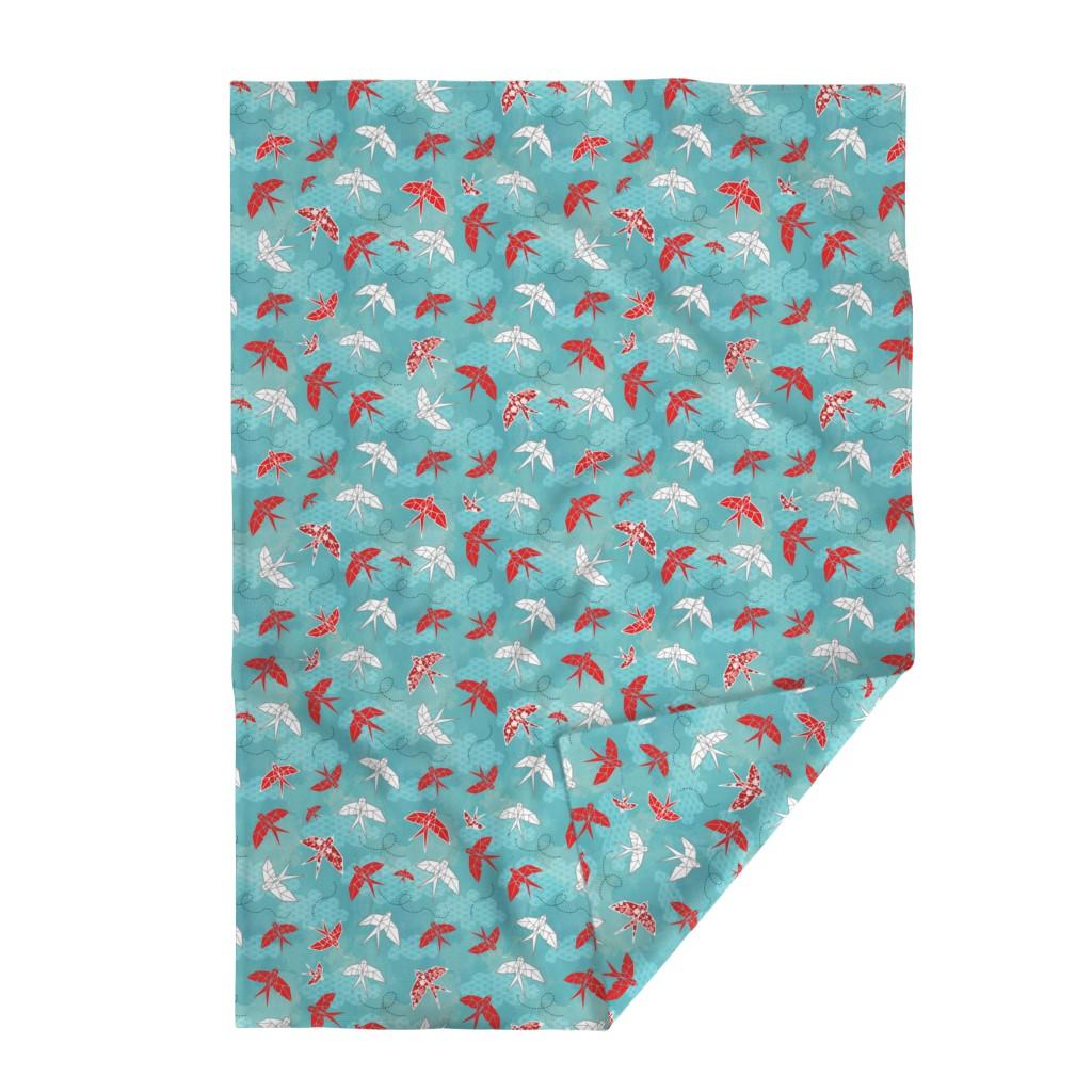 Lakenvelder Throw Blanket featuring Origami Swallows by adenaj