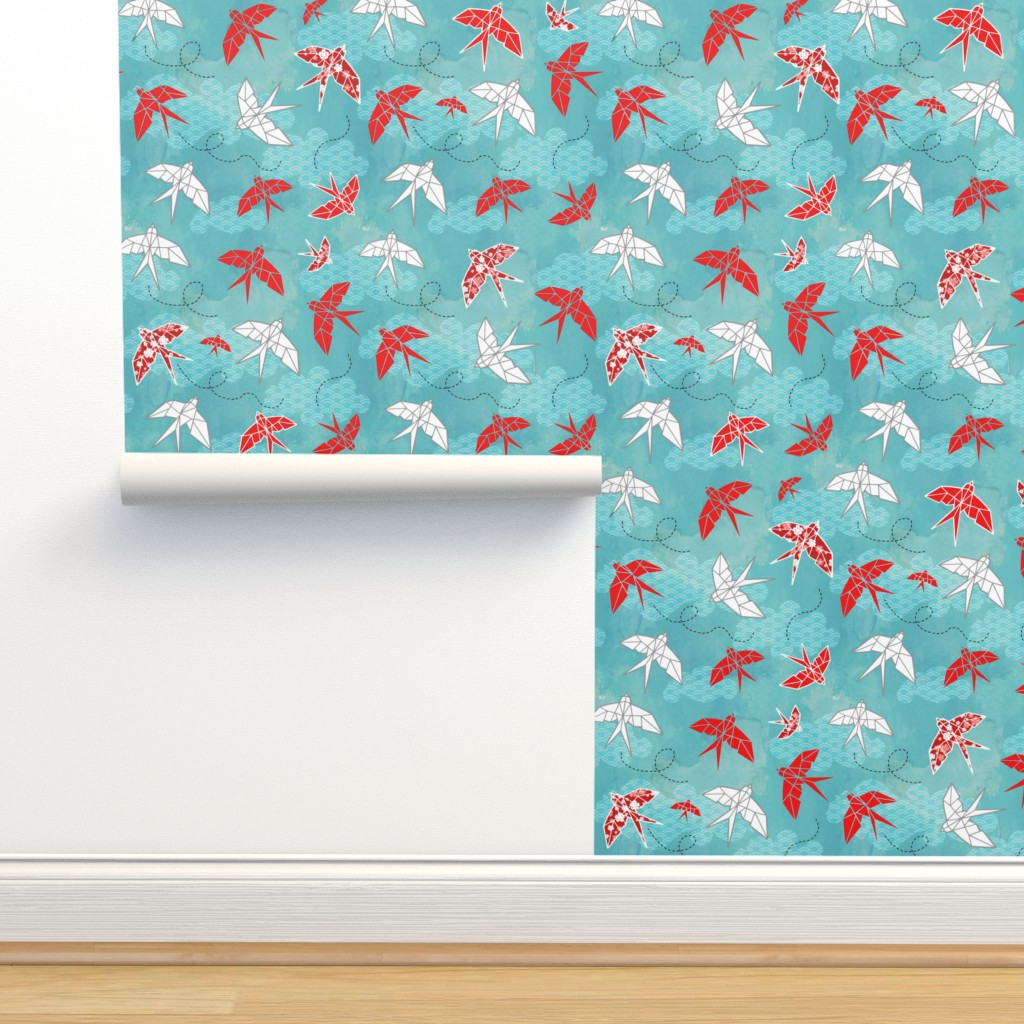 Isobar Durable Wallpaper featuring Origami Swallows by adenaj