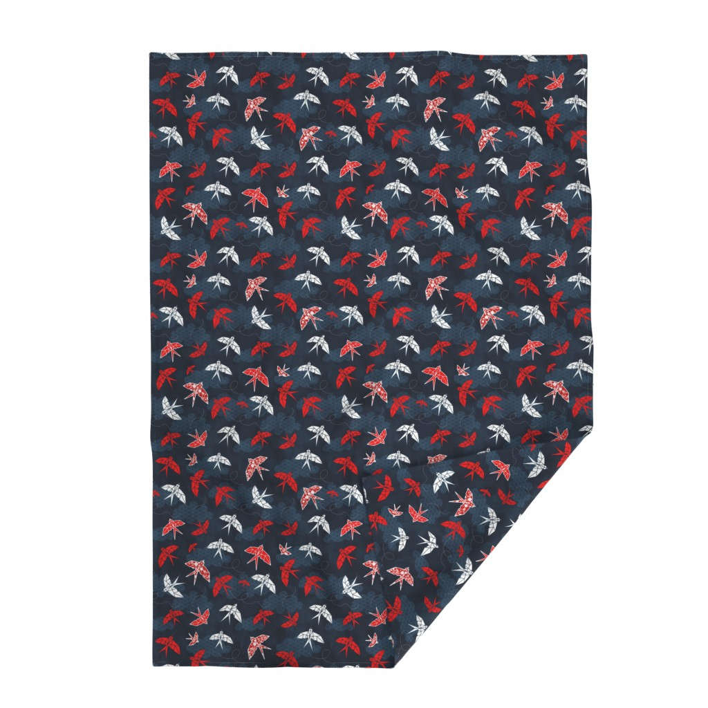 Lakenvelder Throw Blanket featuring Origami Swallow Navy Blue by adenaj
