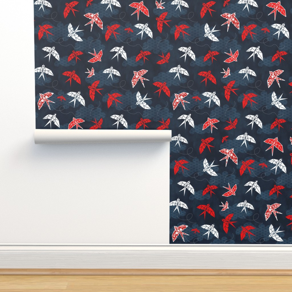 Isobar Durable Wallpaper featuring Origami Swallow Navy Blue by adenaj