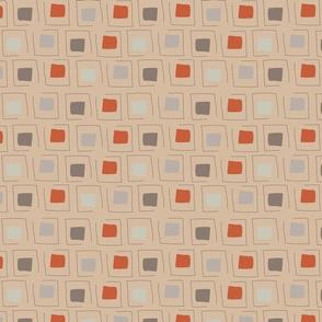 Tiny Pattern Squares Neutral Caramel