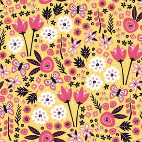 Floral Party Dress (Yellow)