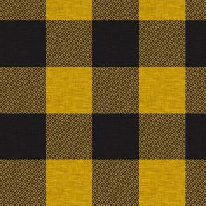 "1.75"" Gold/yellow And Black house check - Buffalo plaid"