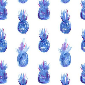 Watercolor blue pineapples