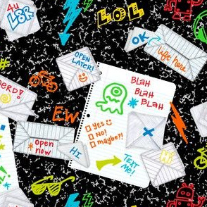 Passing Notes in Class // Old School Origami with Hand Drawn Doodles // Black and White with Bright Colors // Back to School