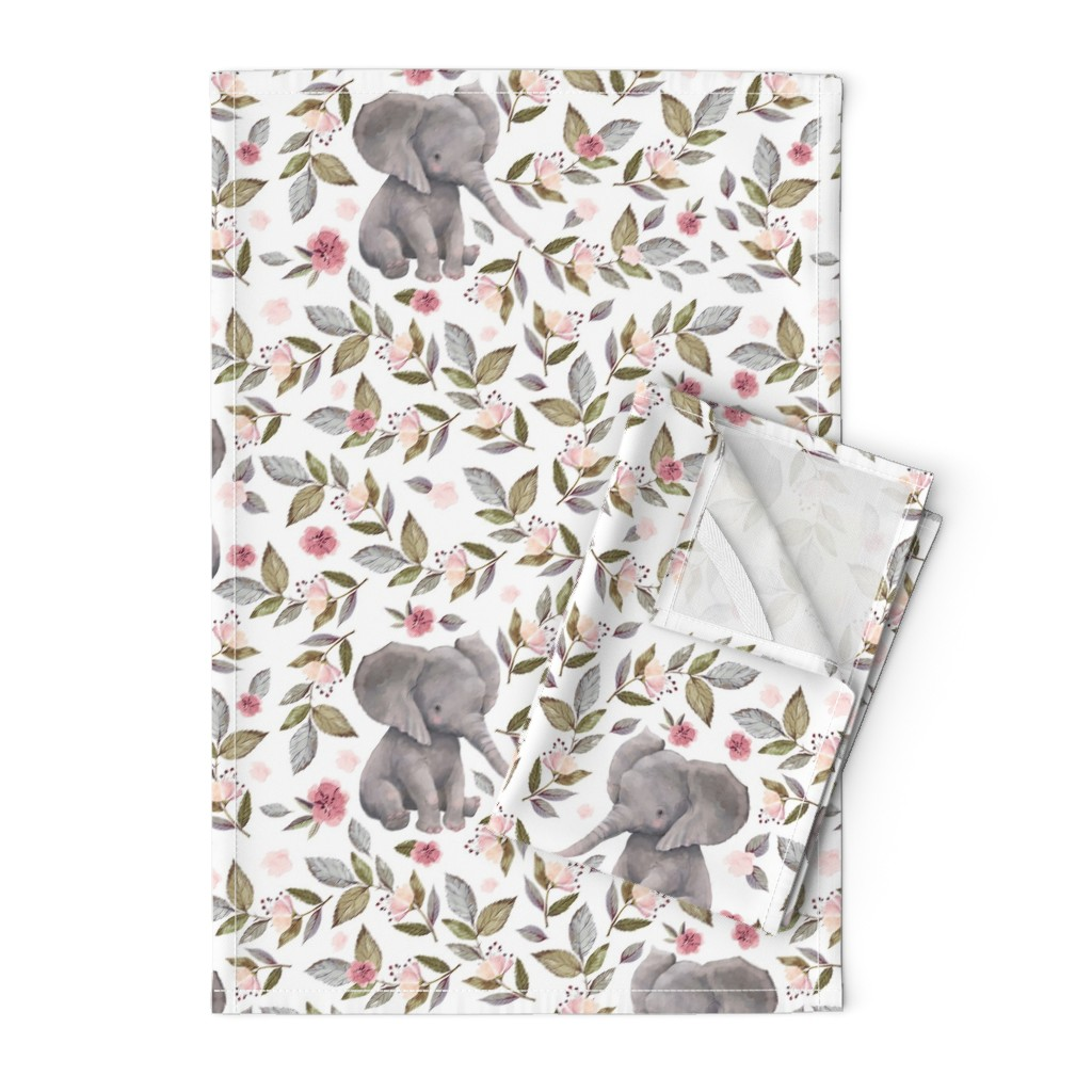 "Orpington Tea Towels featuring 14"" Baby Elephant with Flowers/ NO CROWN /... by shopcabin"