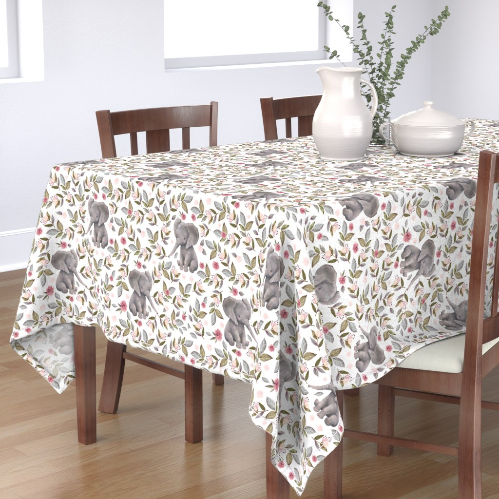 """Bantam Rectangular Tablecloth featuring 14"""" Baby Elephant with Flowers/ NO CROWN /... by shopcabin"""