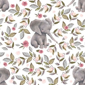 """14"""" Baby Elephant with Flowers/ NO CROWN /..."""