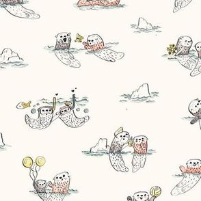 Playful Otters - Cream