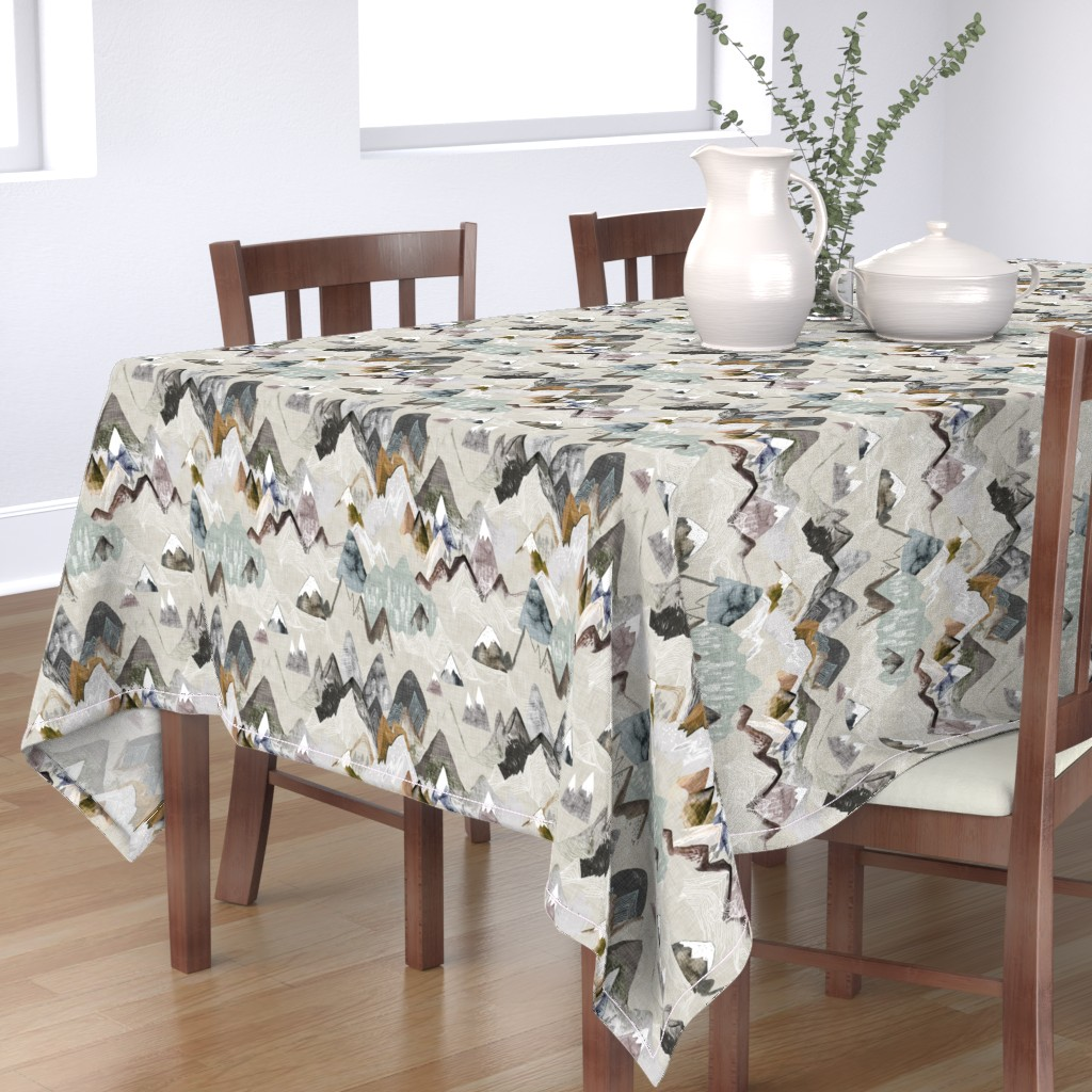 Bantam Rectangular Tablecloth featuring Call of the Mountains (ochre) MED by nouveau_bohemian