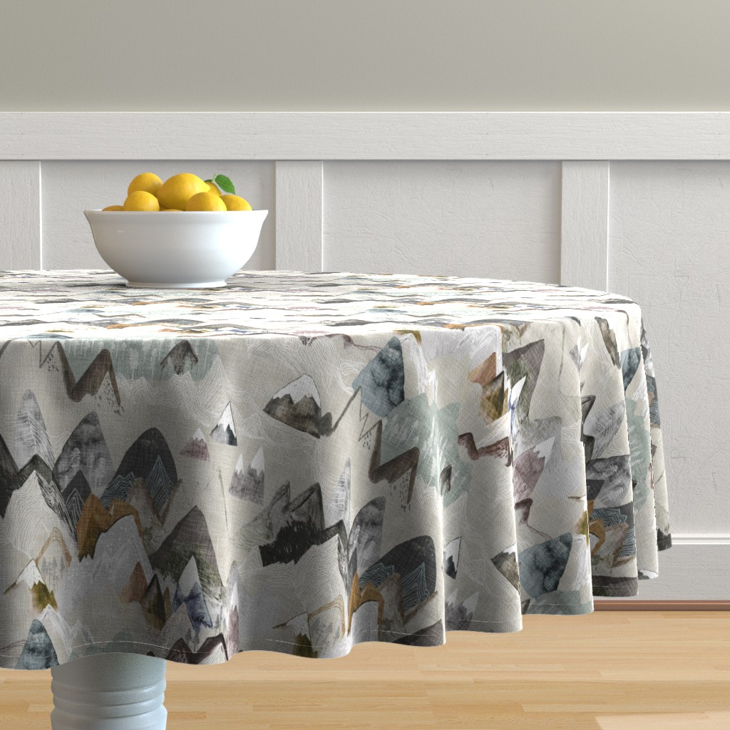 Malay Round Tablecloth featuring Call of the Mountains (ochre) MED by nouveau_bohemian