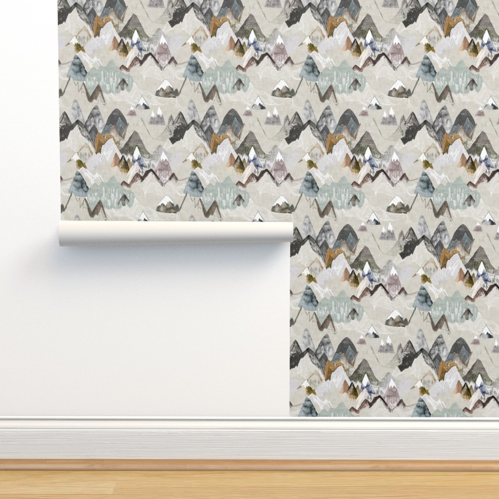 Isobar Durable Wallpaper featuring Call of the Mountains (ochre) MED by nouveau_bohemian