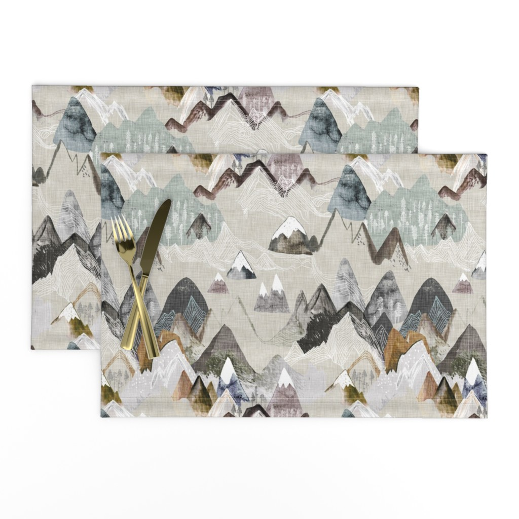 Lamona Cloth Placemats featuring Call of the Mountains (ochre) MED by nouveau_bohemian