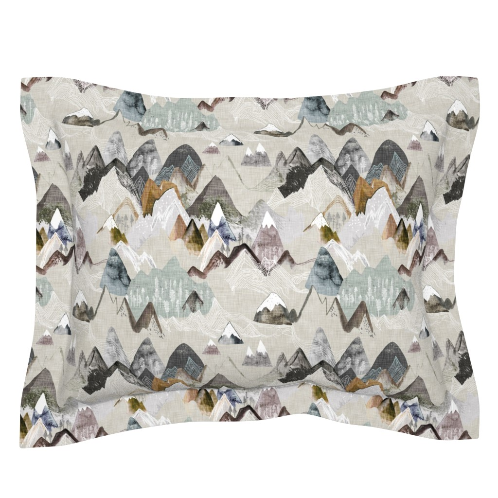Sebright Pillow Sham featuring Call of the Mountains (ochre) MED by nouveau_bohemian