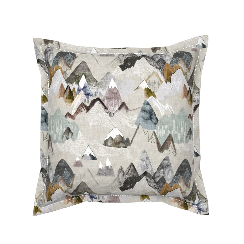 Serama Throw Pillow featuring Call of the Mountains (ochre) MED by nouveau_bohemian
