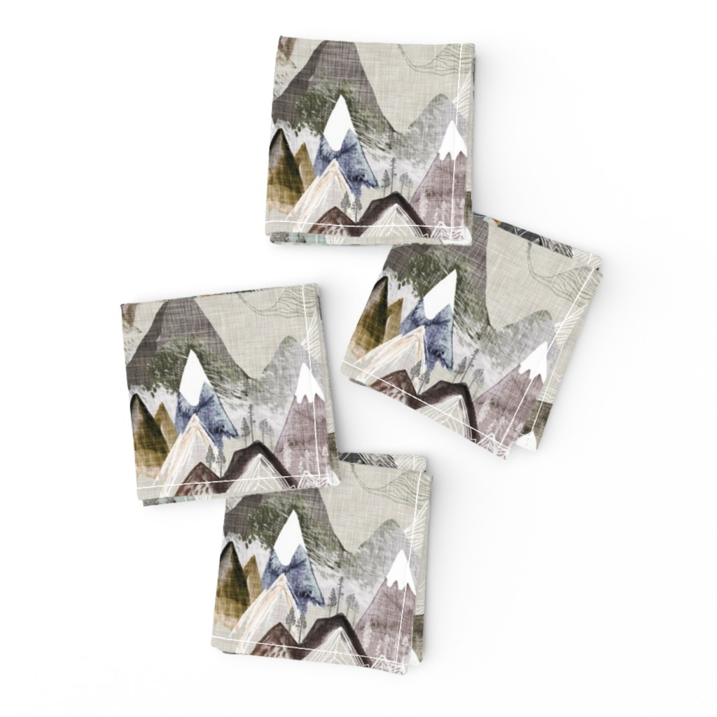 Frizzle Cocktail Napkins featuring Call of the Mountains (ochre) MED by nouveau_bohemian