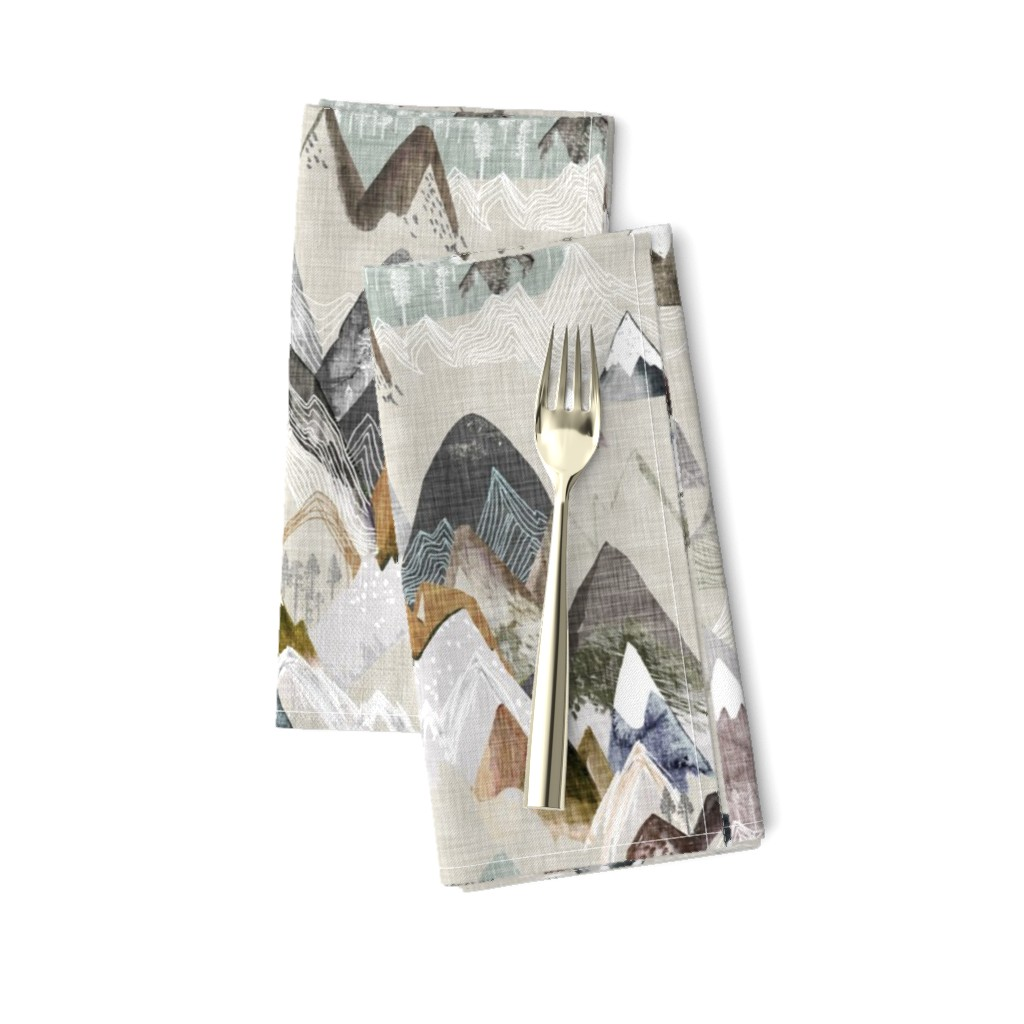 Amarela Dinner Napkins featuring Call of the Mountains (ochre) MED by nouveau_bohemian