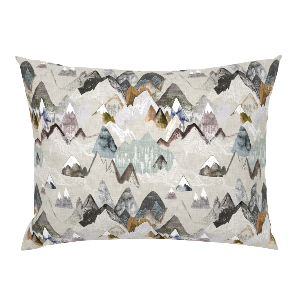 Campine Pillow Sham featuring Call of the Mountains (ochre) MED by nouveau_bohemian