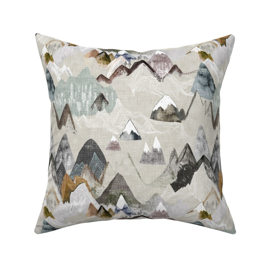 Catalan Throw Pillow featuring Call of the Mountains (ochre) MED by nouveau_bohemian