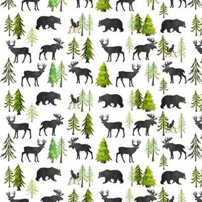 TINY Home in the Forest - Woodland Animals Bear Moose Deer Pine Trees Baby Nursery Bedding GingerLous