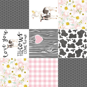 Farm // Love you till the cows come home - wholecloth cheater quilt - Pink - Rotated