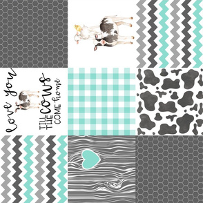 Farm // Love you till the cows come home - wholecloth cheater quilt - rotated